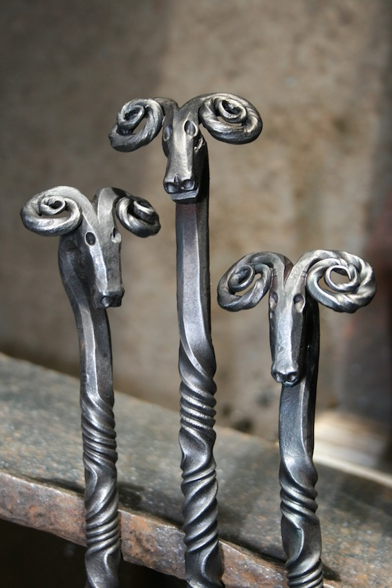 Hand forged delicate Rams Head fire tools - made to order