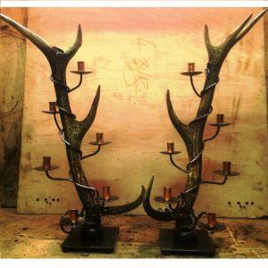 Exmoor stag antler candelarbra