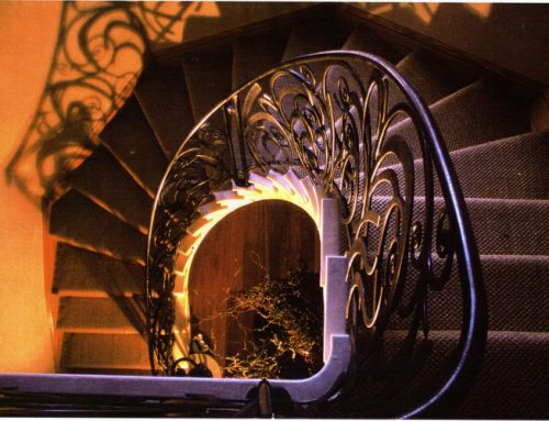 Decorative spiral balustrade hand-forged by West Country Blacksmiths