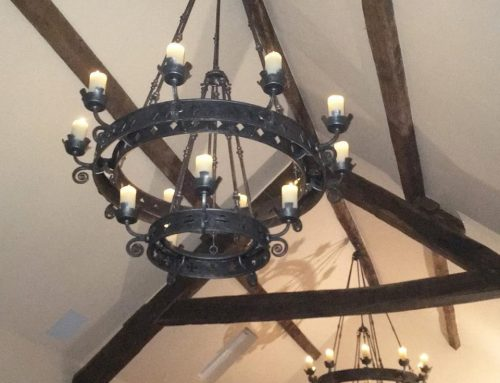 Pair of steel chandeliers