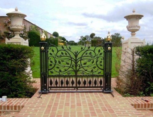 Gold gilded gates bespoke made for the Thenford House in Northamptonshire