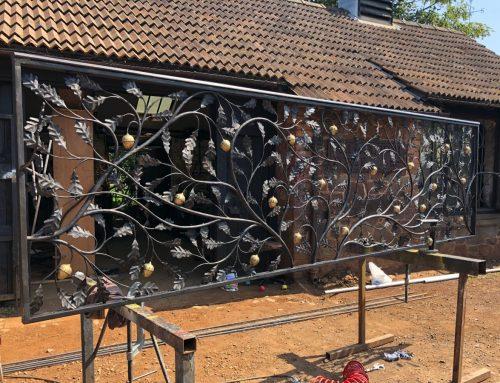 Forged oak leaf balustrade being made at West Country Blacksmiths