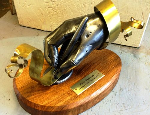 Ross Paterson creative writing award made for the get home safe charity by West Country Blacksmiths.