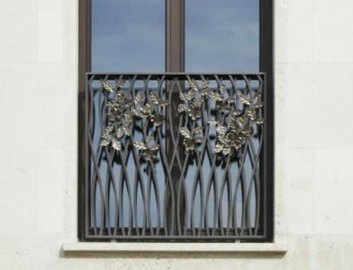 Bespoke Stainless Steel Flowers handcrafted by West Country Blacksmiths used to decorate the Townhouse balustrades and balconies of the prestigious Chelsea Barracks Development in London.